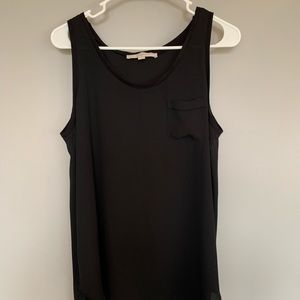 Ann Taylor Loft Black Tank Top with Front Pocket